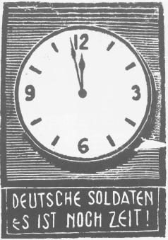 «Γερμανοί στρατιώτες υπάρχει ακόμα καιρός!». Προκήρυξη του ΕΛΑΣ, με έκκληση προς τους Γερμανούς στρατιώτες να προσχωρήσουν στις τάξεις του (αρχεία ΕΛΙΑ, από τον συλλογικό τόμο Χρ. Χατζηιωσήφ (επιμ.), Ιστορία της Ελλάδας 20ού ΑΙΩΝΑ, τ. Γ2, εκδ. Βιβλιόραμα, Αθήνα 2007).