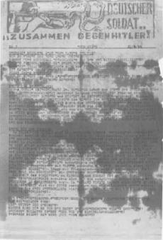 «Γερμανέ στρατιώτη… Μαζί ενάντια στον Χίτλερ!». Προκήρυξη της ΕΠΟΝ Αθήνας, 1944 (αρχεία ΑΣΚΙ, από τον συλλογικό τόμο Χρ. Χατζηιωσήφ (επιμ.), Ιστορία της Ελλάδας 20ού ΑΙΩΝΑ, τ. Γ2, εκδ. Βιβλιόραμα, Αθήνα 2007).